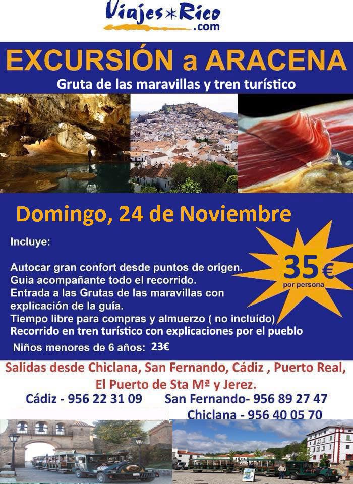 EXCURSIÓN ARACENA 24 de Noviembre por solo 35€