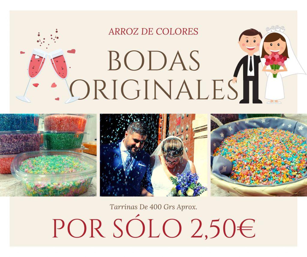 Arroz de colores ideales para bodas, tarrinas de 400 grs, por solo 2,50 €