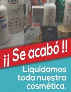 Liquidación de toda la cosmética a precios muy reducidos para dedicarnos plenamente a la alimentación libre de alérgenos